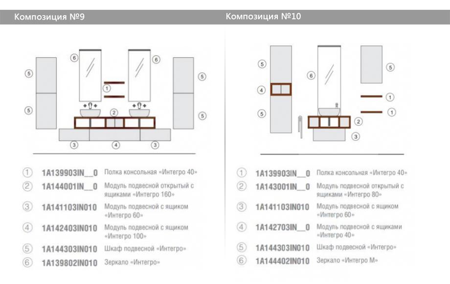 Комплект модульной мебели Акватон Интегро – Композиция №9 и Композиция №10