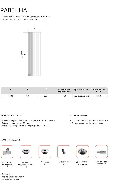 Полотенцесушитель Benetto Равенна Схема и техническая документация