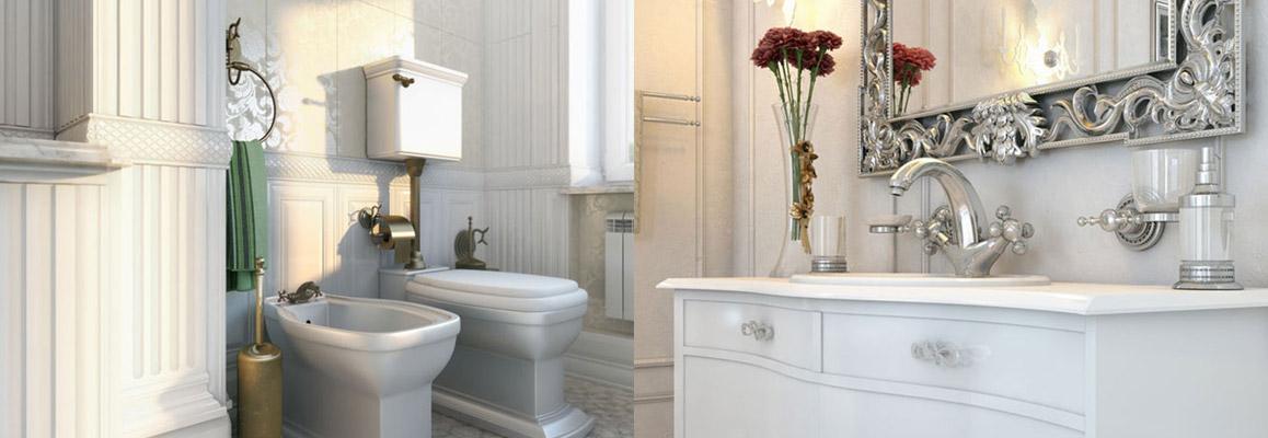 Итальянские смесители и аксессуары Boheme (Богема) в интерьере ванной комнаты