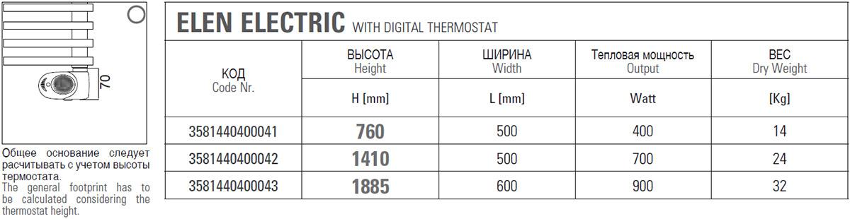 Техническая информация о электрическом полотенцесушителе Cordivari Elen Electric
