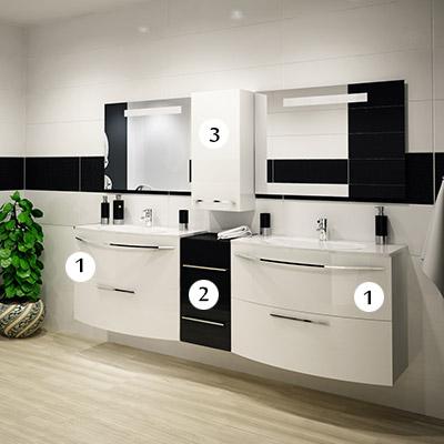 De Aqua Long КОМБО Белый - комплект мебели: Две тумбы 90 + Раковины + Тумбочка + Шкаф подвесной