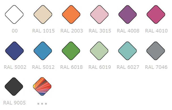 Примеры цветов для мебели Эстет из палитры цветов RAL