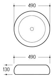 Техническая схема. Размеры раковины Melana MLN-A100-KG12