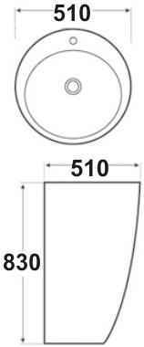Техническая схема. Размеры раковины Melana MLN-В133 (7001)