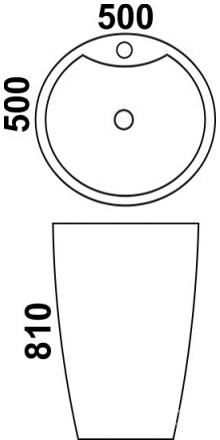 Техническая схема. Размеры раковины Melana MLN-В166-1