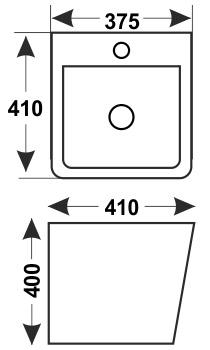 Техническая схема. Размеры раковины Melana MLN-500VBW