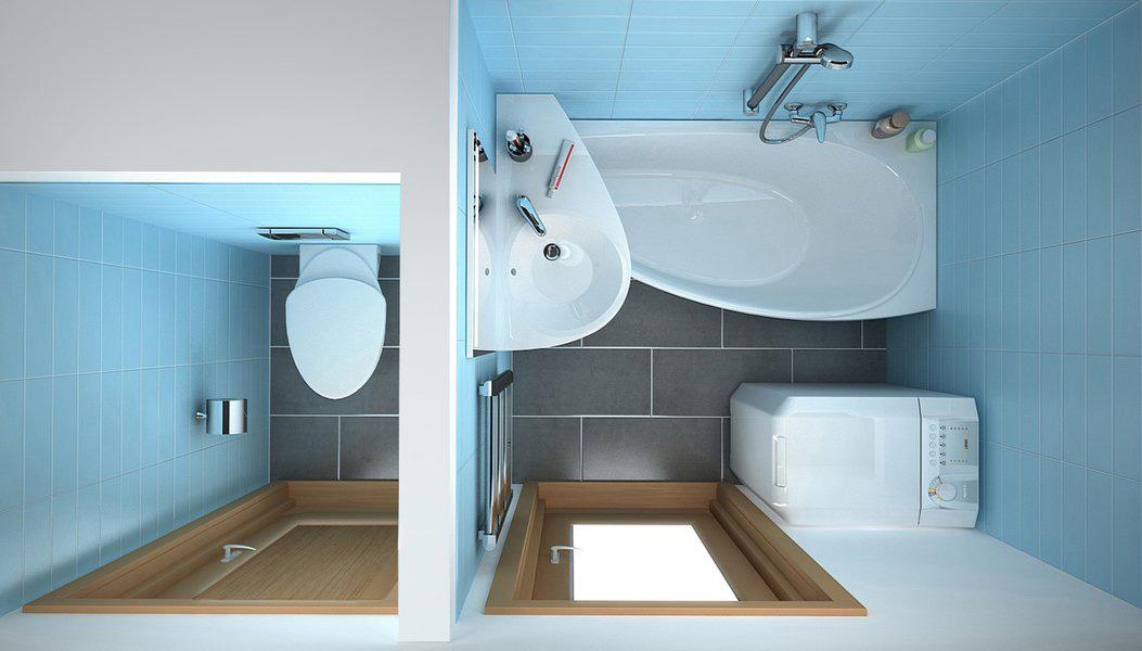 Раковина угловая над ванной