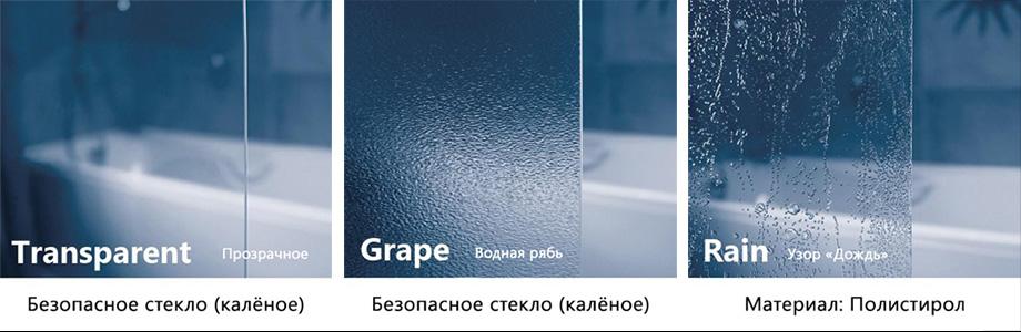 Виды витражных полотен от Ravak, виды стёкол шторок на ванну Ravak