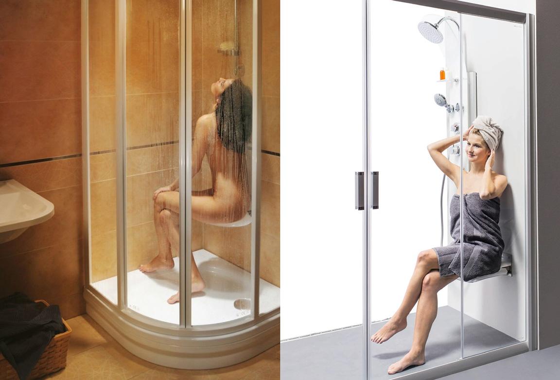 Сиденье для ванной складное сиденье для душа, девушка сидит на сиденье для душа