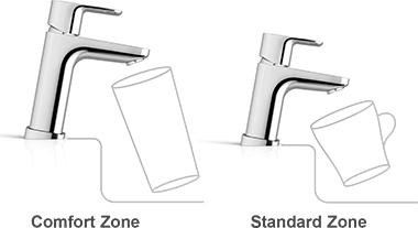 Смесители Ravak 10° имеют стандартную и увеличенную высоту – Comfort Zone и Standart Zone.