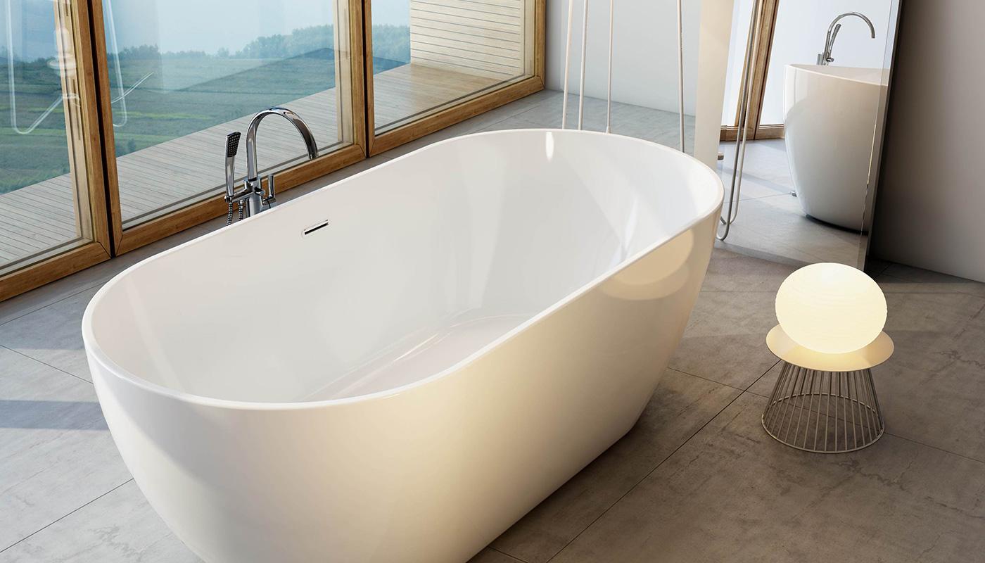 Напольный смеситель и ванна Freedom – идеальное сочетание, цельный дизайн.