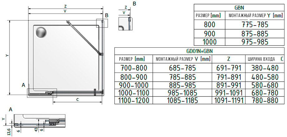 Схема Roltechnik Elegan Neo GDO1N + боковая стенка GBN