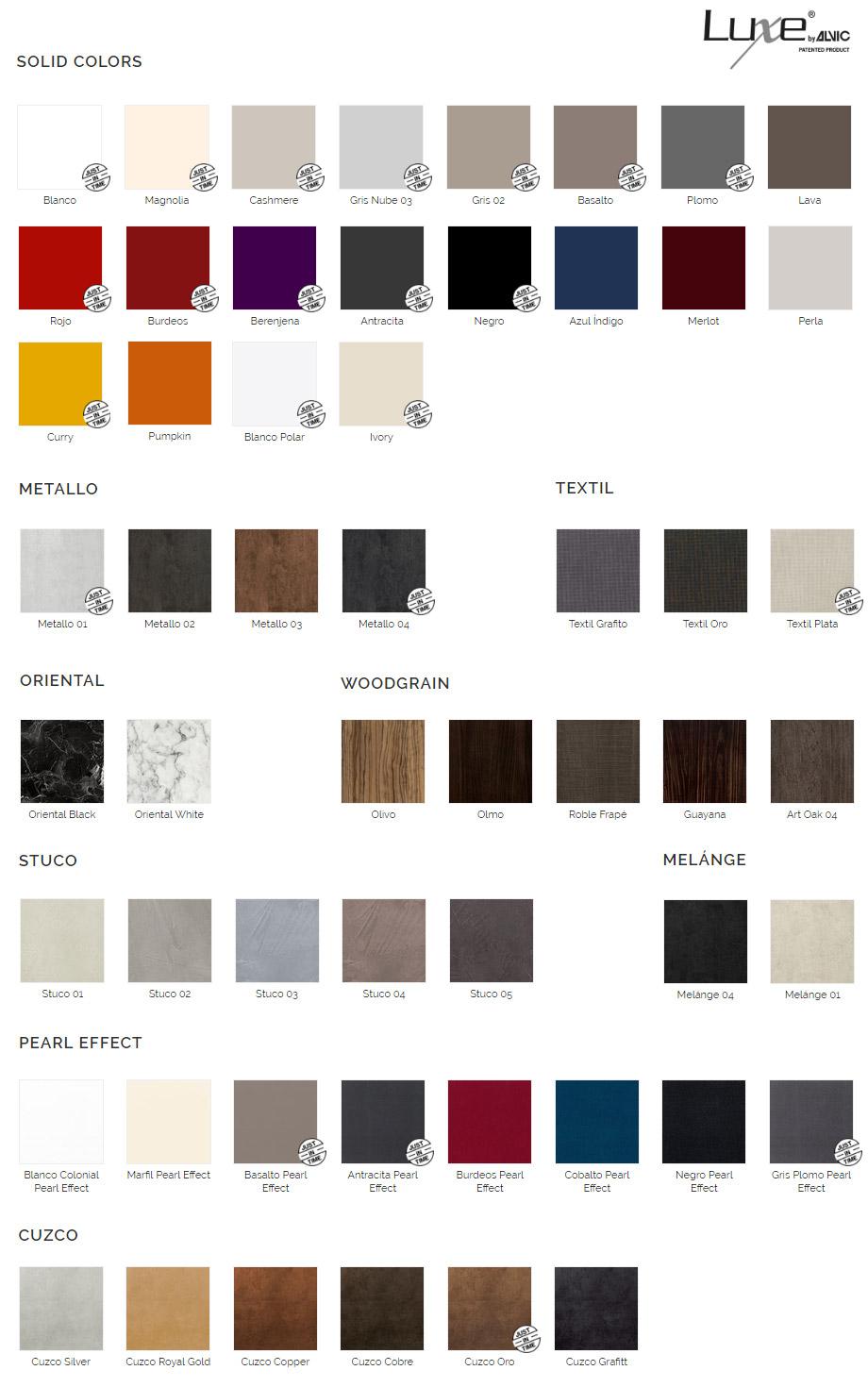 Цветовая палитра ALVIC Luxe для фасадов и корпуса мебели для ванной STREET