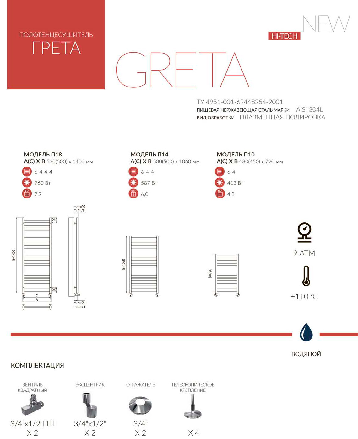 Схема полотенцесушителя Terminus Грета