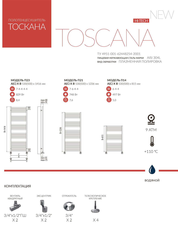 Полотенцесушитель Terminus Тоскана Схема и техническая документация