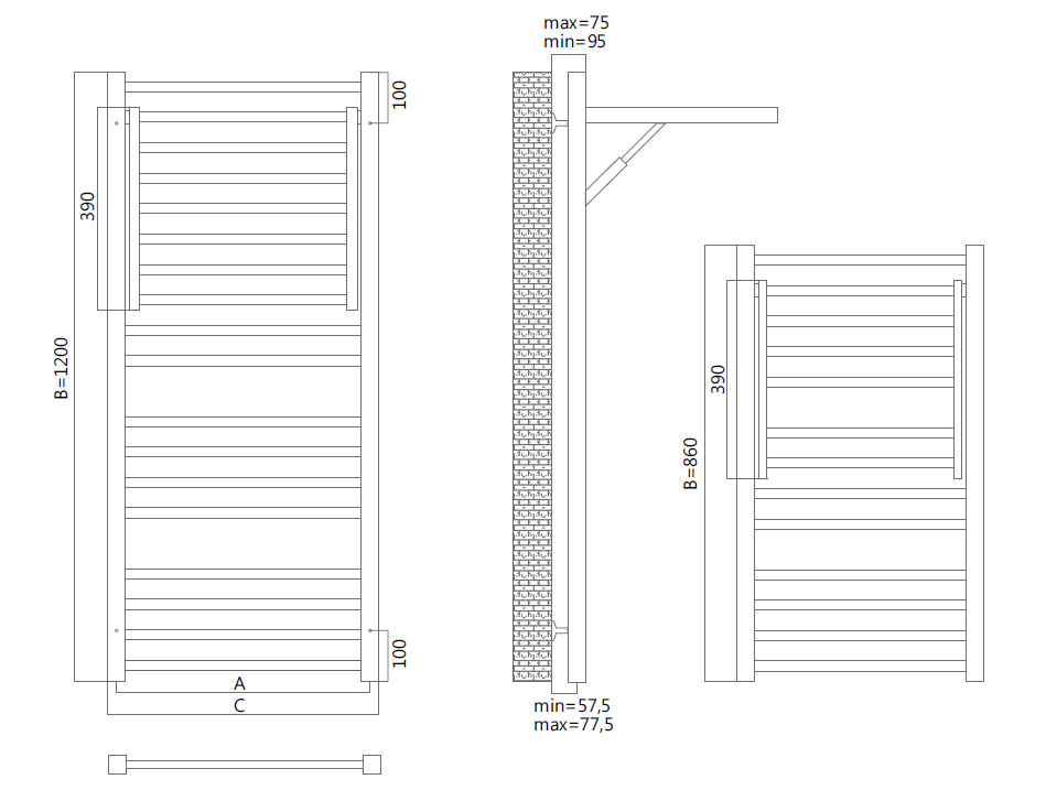 Схема полотенцесушителя Terminus Валенсия