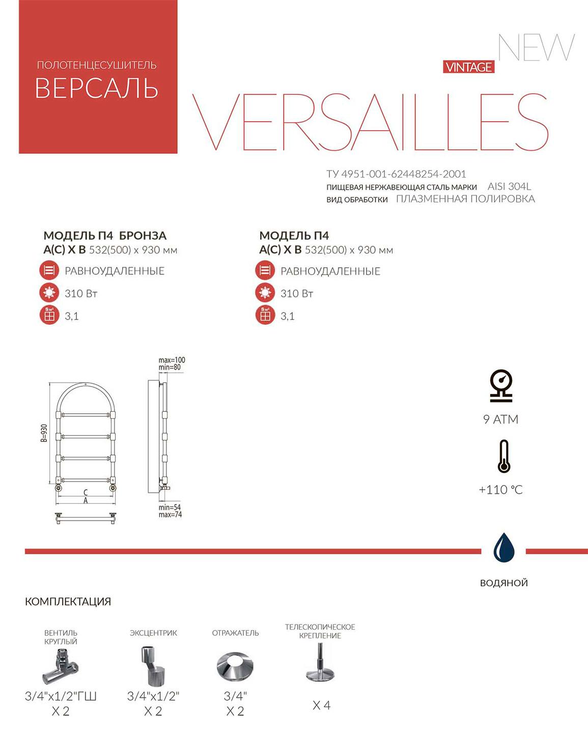 Терминус Версаль Техническая документация и схема полотенцесушителя